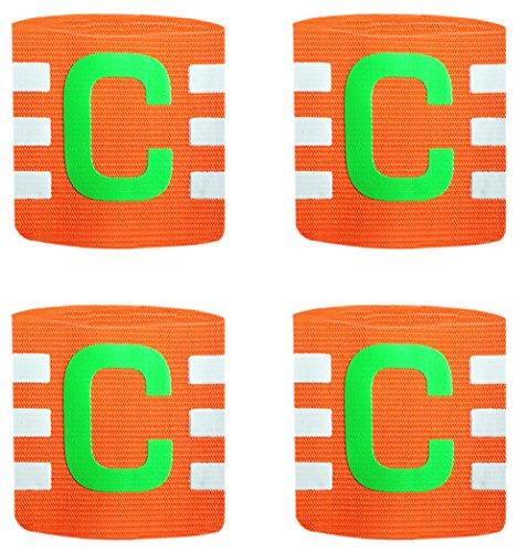 Ancefine Adult Youth Elastic Soccer Captain Armband,4-Pack (Orange)
