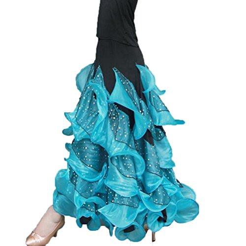 Per M Lungo Outfit Da Moderna Donne Ballo Vestito m Maglia Wqwlf Competizione Galleggiante Sala Manica Valzer Blue qwIpgH4
