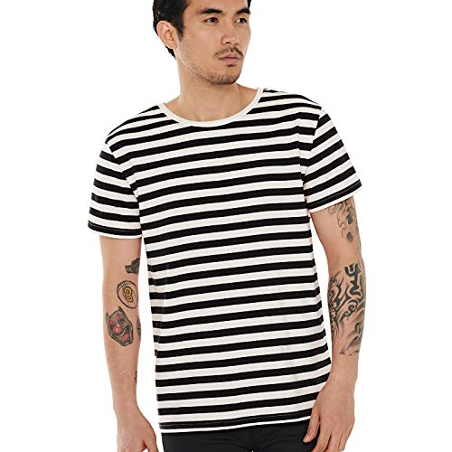 Zbrandy Striped Shirt for Men Horizontal Stripe T Shirt Basic Cotton Top Tee Black M