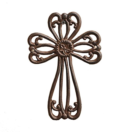 Cast Iron Wall Cross (Gift Craft Antique Brown Cut Out Cast Iron Wall)