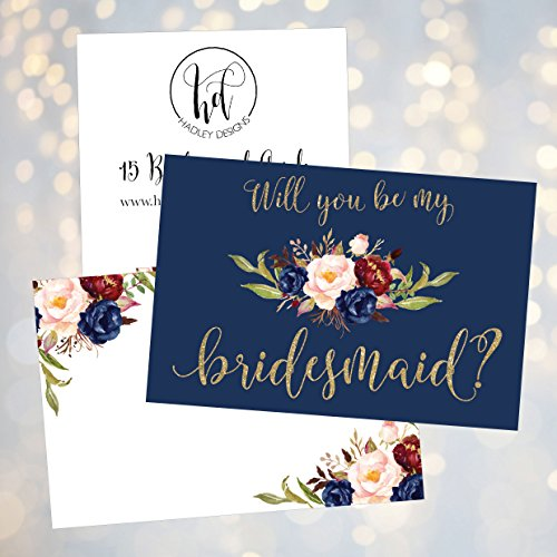 15 Will You Be My Bridesmaid Cards Navy Floral, Cute Bridesmaids Proposal Note Cards For Gifts, Blank Ask To Be Your Bridesmaids Invitations Set, Asking To Be A Bridesmaid Invite Photo #2