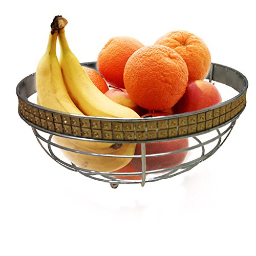 Silver and Gold Bling Fruit Bowl Centerpiece Beautiful Design Great to Fill with Fruits or Just Keep Empty As Decor