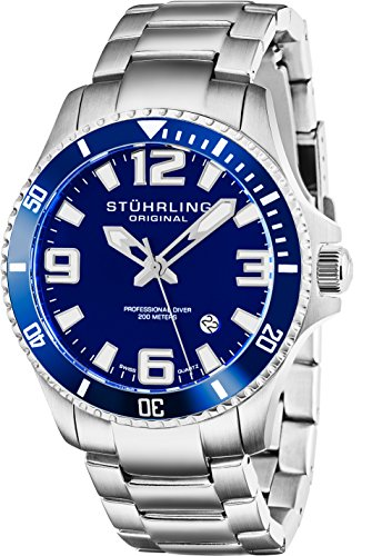 Datejust Dial - Stuhrling Original Mens Swiss Quartz Stainless Steel Sport Analog Dive Watch, Water Resistant 200 Meters, Blue Dial, Aqua-diver 395.33U16