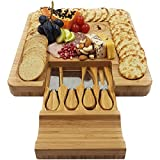 wine and grape cutting boards - Premium XL Classic Cheese Board and Knife Set with Slide-Out Drawer and 4 Stainless-Steel Serving Utensils Cutlery. Cracker Groove Cutting Surface for Bread, Fruit, Meat and Charcuterie. 100% Bamboo.