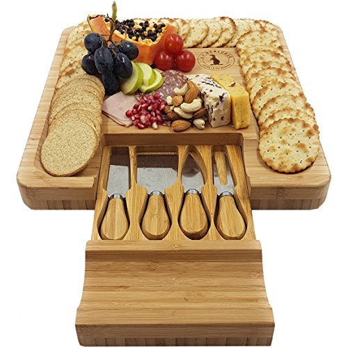 Cheese Board and Knife Set 13¼ x 13¼ inch. Hidden Drawer 4