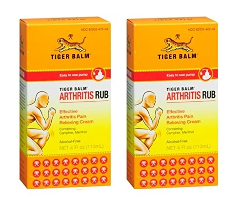Tiger Balm Arthritis Rub Pain Relieving Cream (Pack of 2) with Camphor, Menthol, Cajuput Oil, Cassia Oil, Clove Oil and Mint Oil, Easy-to-Use Arthritis-Friendly Pump, 4 oz