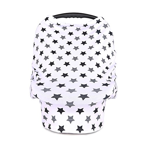 Baby Car Seat Cover Canopy Nursing Covers Breastfeeding Cover, Multi-use Covers by BORITAR, Little Stars Printed
