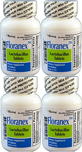 Million CFU, Lactobacillus Acidophilus for Colon Digestive Health, Generic for Lactinex, Shelf Stable No Refrigeration, 50 Tablets per Bottle, 4-Pack ()