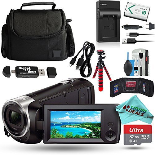 Sony HD Video Recording HDRCX440 / HDRCX440B Handycam Camcorder + 32GB Memory Card + Battery + Tripod + Case + USB Cable + Travel Charger + Liquid Deals Cleaning Solution