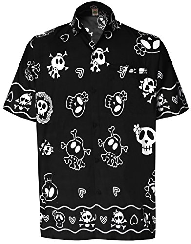 La Leela Aloha Hawaiian Tropical Beach Solid Plain Mens Casual Short Sleeves Button Down Tropical Shirts XL Black (Silk Printed Shirt Camp)