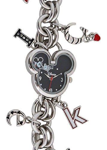 Disney Women's Mickey Mouse Shaped Dial Charm Bracelet Watch (Charm Watch Face)
