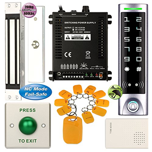 Access Control System, ZOTER Waterproof IP65 Keypad Reader Password RFID Card 125Khz Touch Panel + Conceal Install Magnetic Door Lock 280Kg by ZOTER