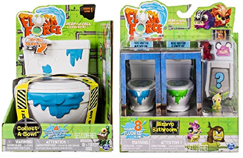 Flush Force Series 1 Collect-A-Bowl Stash 'n' Store Case for 4 Exclusive Flushie Figures, and Bizarre Bathroom Collectible (Color/Styles May Vary) Including Blizy keychain. ()
