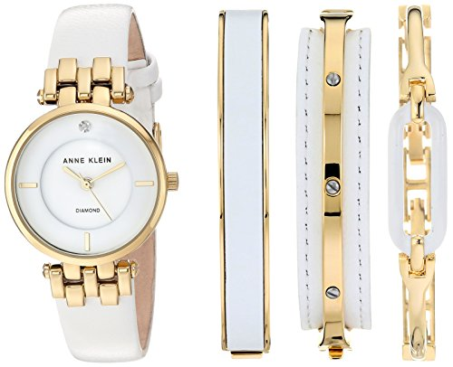 Anne Klein Women's AK/2684WTST Diamond-Accented Gold-Tone and White Leather Strap Watch and Bangle Set (White Leather Diamond Watch)