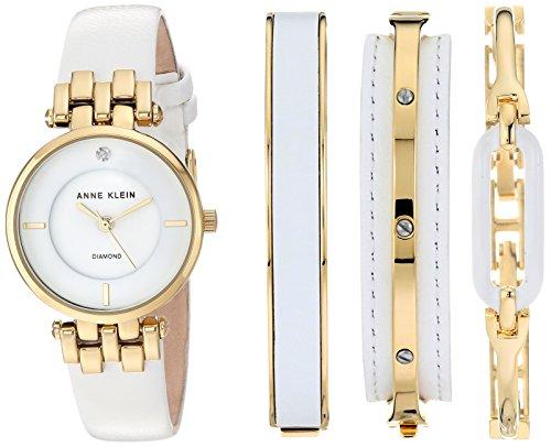 Anne Klein Women's AK/2684WTST Diamond-Accented Gold-Tone an...