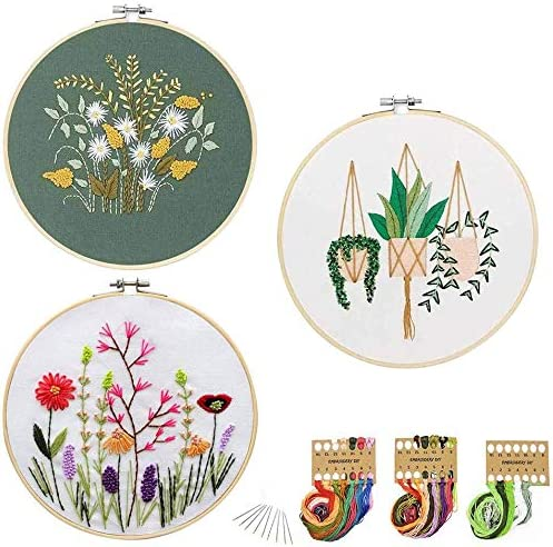 JUSHOOR 3 Sets Embroidery Starter Kit with Patterns, Full Range of Cross Stitch Kit Supplies for Beginners Adults Kids(Bamboo Hoop+Cloth+Tools)