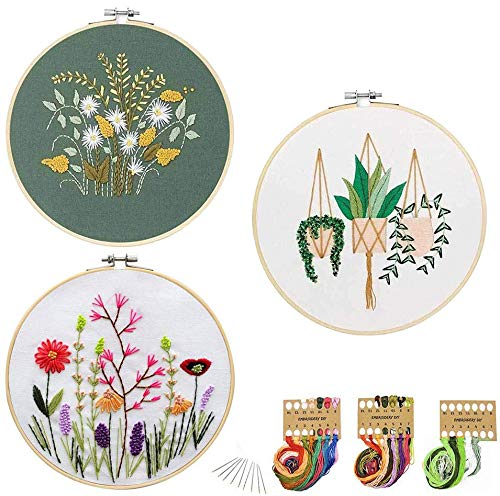 JUSHOOR 3 Sets Embroidery Starter Kit with Patterns, Full Range of Cross Stitch Kit Supplies for Beginners Adults Kids(Wood Hoop+Cloth+Tools)