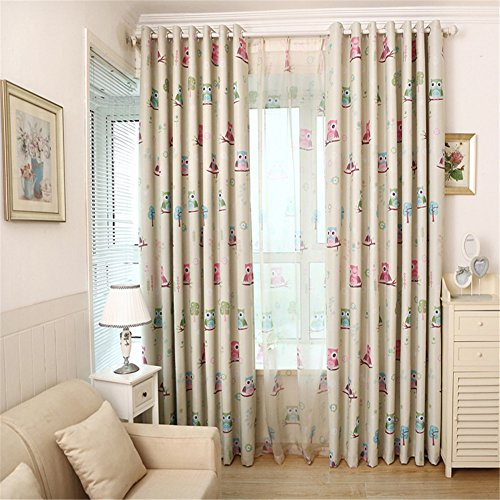 Edal Cartoon Owl Bird Blackout U0026 Sheer Tulle Curtains Kids Room Drapes  Panel Home Decor