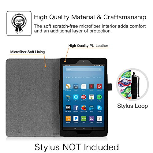 Large Product Image of Fintie Folio Case for All-New Amazon Fire HD 8 Tablet (7th Generation, 2017 Release) - Slim Fit Premium Vegan Leather Standing Protective Cover with Auto Wake/Sleep, Love Tree