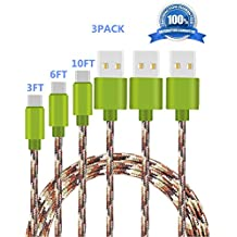 USB Type C Cable (Camo Green), SUPZY Durable Nylon Braided High Speed 2.0 Type C to Type A Cable for Google Pixel/Pixel XL, Nexus 6p/5X,LG G6, Samsung Galaxy S8,S8 plus, HTC 10. (3Pack(3FT+6FT+10FT))