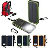 Oenbopo Outdoor Emergency Flashlight LED light Lamp Portable Solar Power Bank Charger Panel 12000mAh Dual USB Battery Exterrnal Charger for iPhone Samsung iPad Tablet(Green)