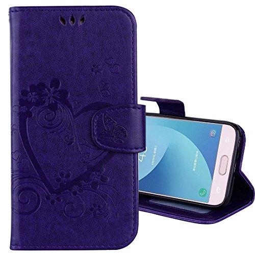 XIAOGUA Cases & Covers, Para Samsung Galaxy J3 (2017) / J330 (versión de la UE) Flores presionadas Mariposa Love Pattern Horizontal Flip Funda de cuero con soporte y ranuras para tarjetas & Cartera y  Purple