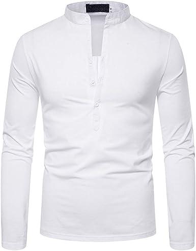 Camiseta de Manga Larga para Hombre - Color Sólido Camisa Moda Cuello Mao Casual Blusa Shirts Tops: Amazon.es: Ropa y accesorios