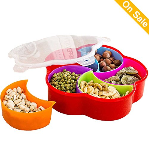 Appetizer Plates Snack Bowls Party Tableware Decorative Trays Food Container Candy Nuts Trays with Lid Plastic Fruit Party Plates with 5 Compartments for Christmas, Party and Kitchen (Color 1)