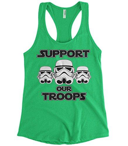 Cybertela Women's Support Our Troops Stormtrooper Racerback Tank Top (Kelly Green, (Stormtrooper Tank)