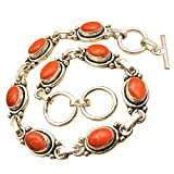 Original ORANGE COPPER TURQUOISE Bracelet ! 925 Sterling Silver Plated Affordable Wedding Jewelry