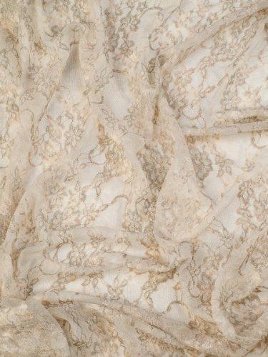 Elizabetta Italian Venetian Lace Evening Formal Scarf Shawl Wrap, Nude Beige