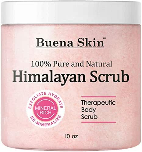 Himalayan Pure Salt Body Scrub with Lychee Oil | All Natural Scrub to Exfoliate & Moisturize Skin, 10 Ounce Buena Skin