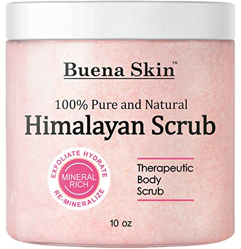 - BUENA SKIN Himalayan Salt Body Scrub | All Natural Exfoliating Bath Scrub, Beauty, Skin Care | Vitamin E, Antioxidant, Natural Sweet Almond, Jojoba, Lychee Fruit Oil | Great Gifts For Woman 10oz.