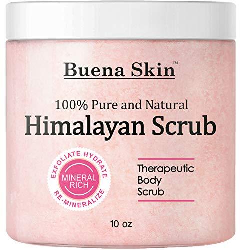 BUENA SKIN Himalayan Salt Body Scrub | All Natural Exfoliating Bath Scrub, Beauty, Skin Care | Vitamin E, Antioxidant, Natural Sweet Almond, Jojoba, Lychee Fruit Oil | Great Gifts For Woman 10oz.
