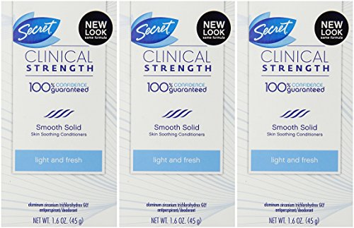 Secret Clinical Strength Advanced Solid Antiperspirant and Deodorant Light And Fresh Scent 1.6 Ounce (Pack of 3)