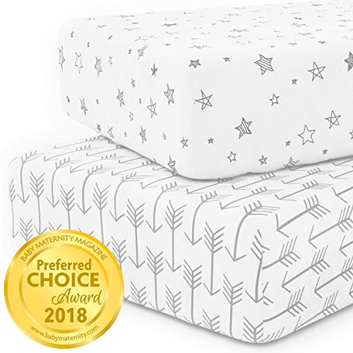 Crib Sheet Set 100% Jersey Cotton | 2-Pack | Fitted Cotton Baby & Toddler Universal Crib Sheets for Boy | Mattress Bedding Sets | Comfy Changing Pad Cover | White Sheets | Nursery Accessories from Kids N' Such