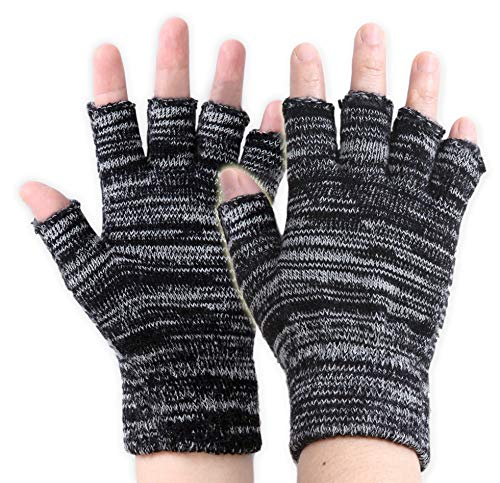 Fingerless Touchscreen Magic Gloves - Lightweight & Warm Thermal Knit Half Finger Winter Gloves Designed for Texting, Driving, Hiking, Running, Cycling and Casual Wear - Fits Men & Women