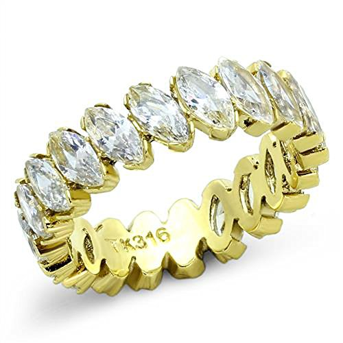 - Women's Marquise Cut Cz 14K Gold IP Stainless Steel Eternity Wedding Ring Band Size 5