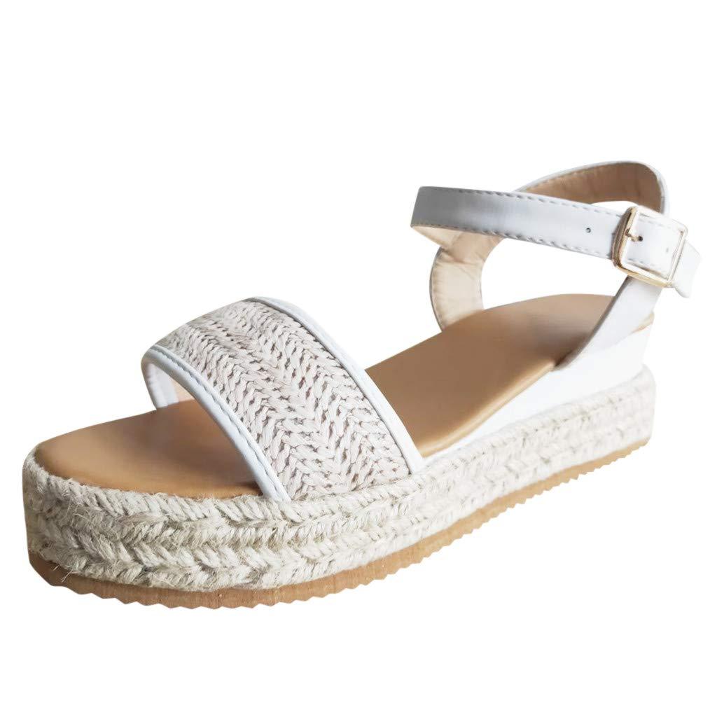 Platform Wedge Sandals,Women Bohemian Casual Open Toe Ankle Strap Buckle Espadrille Roman Shoes (US:5.5, White)