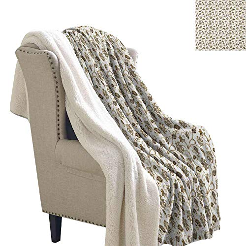 Willsd Asian Baby Blanket Doodle Style Ethnic Arabic Ornamental Flowers and Leaves Swirls Stalks Machine Washable and Drier Safe Caramel Dark Taupe Grey W59 x L47