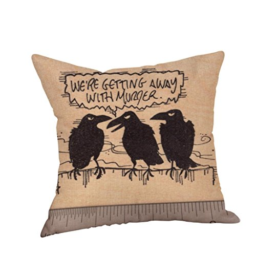 Clearance!Napoo 2017 Hot Sale Happy Halloween Crow Pillow Cases Linen Sofa Cushion Cover Home Decor (Exchange La Halloween 2017)