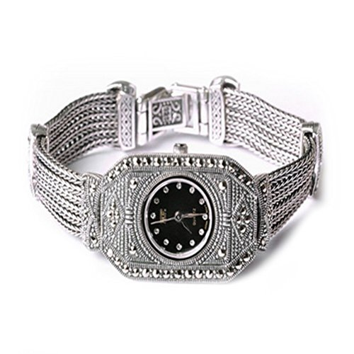 - Sterling Silver Luxury Vintage Watch 925 Silver Bracelet with Marcasite Jewelry for Women
