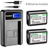 Kastar Battery (X2) & LCD USB Charger for Sony NP-FW50 and Alpha 7 7R 7R II 7S a7R a7S a7R II a5000 a5100 a6000 a6300 NEX-7 SLT-A37 DSC-RX10 DSC-RX10 II III 7SM2 ILCE-7R 7S QX1 5100 6000 VG-C1EM C2EM