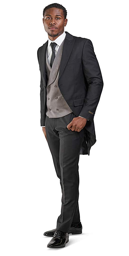 Victorian Mens Suits & Coats Slim Fit 1 Button Peak Lapel 3 Piece Formal Royal Tailcoat Vested Mens Tuxedo Silver Vest $99.00 AT vintagedancer.com