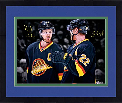 Vancouver Canucks Throw - Framed Daniel Sedin and Henrik Sedin Vancouver Canucks Autographed 16