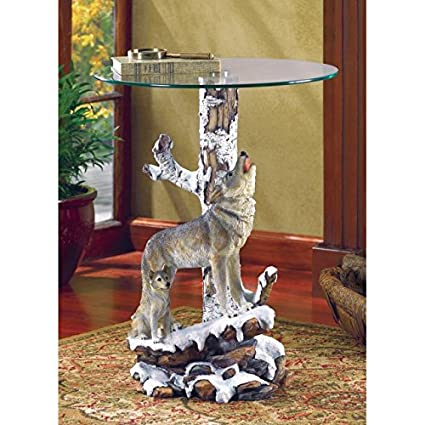 Attrayant Home Coffee Table Animal Furniture Vanity End Tables Console Wolf Statue  Decor Office Entryway Dining Accent