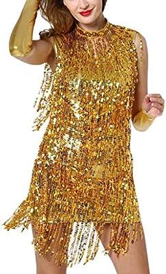 Bibao vestido de baile latino de malla con lentejuelas y falda ...