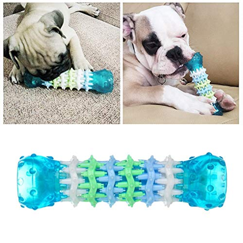 DICPOLIA Pet Supplies Dog Chew Toys, Soft Natural Health Big Rubber Treat Bones for Pets Tooth Cleaning and Interactive Training Playing (Blue)