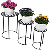Sunnydaze Modern Indoor/Outdoor Nesting Plant Stands, Set of 3, Includes 1 Small, 1 Medium, and 1 Large Stand