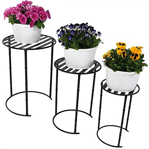 Price comparison product image Sunnydaze Modern Indoor/Outdoor Nesting Plant Stands, Set of 3, Includes 1 Small, 1 Medium, and 1 Large Stand